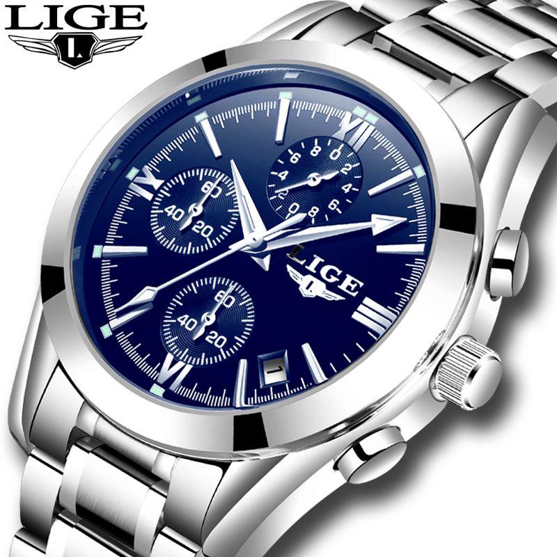 LIGE New Mens Watches Top Brand Luxury Fashion Business Quartz Watch Men Waterproof Full Steel Clock Male Dress Wristwatches+box