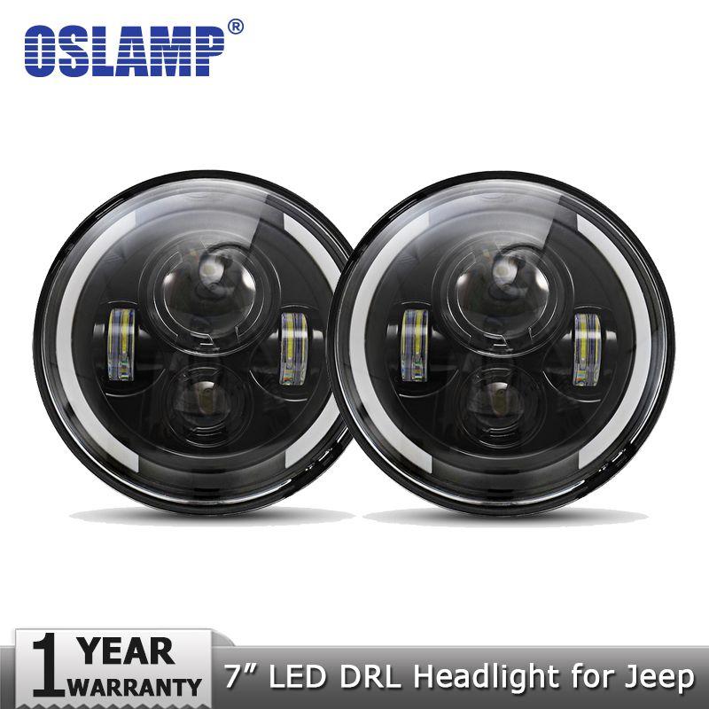 <font><b>Oslamp</b></font> 2pcs 7 60W LED Headlights for Jeep CJ/Wrangler JK Headlamps Led Driving Light for Land Rover Defender H4 H13 Headlights