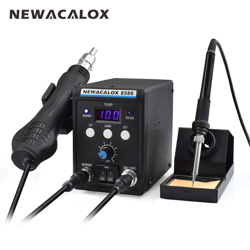 NEWACALOX 8586 220V 700W Lead-Free Soldering Station BGA Rework SMD Hot Air Gun Heat Eletric Soldering Iron Kit Tool Welding Tip