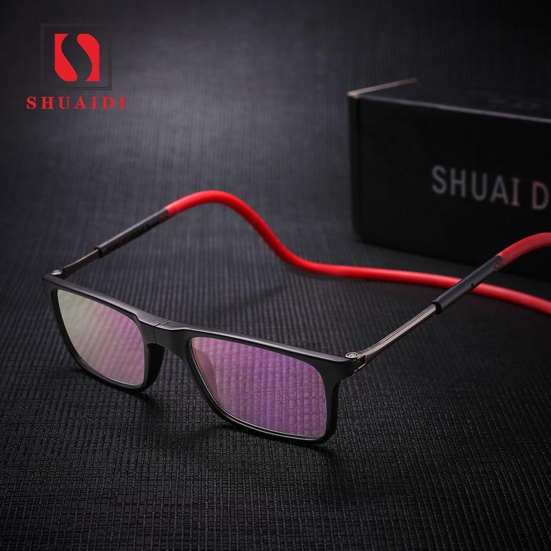 Upgraded Unisex <font><b>foldable</b></font> Magnetic Reading Glasses Men Women Adjustable Hanging Neck Folding Glasses Front Connect with magnet