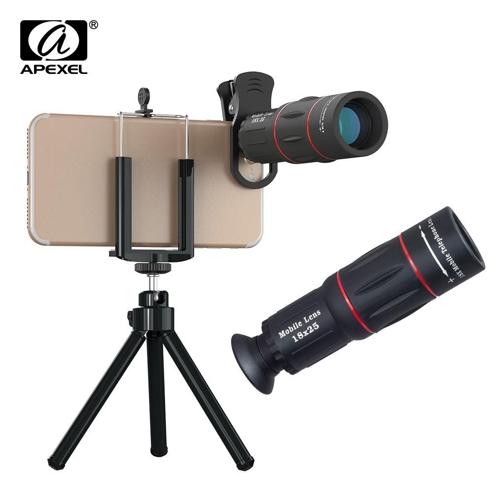 APEXEL Mobile Téléphone Lentille 18X Télescope Zoom Caméra Lentilles avec trépied support de téléphone pour iPhone X 7 8 Samsung Huawei xiaomi Lentille