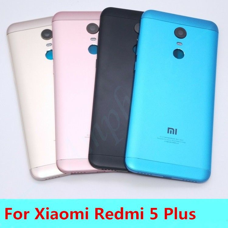 New For Xiaomi Redmi 5 Plus(MEE7) Spare Parts Back Battery Cover Door Housing + Side Buttons + Camera Flash Lens Replacement
