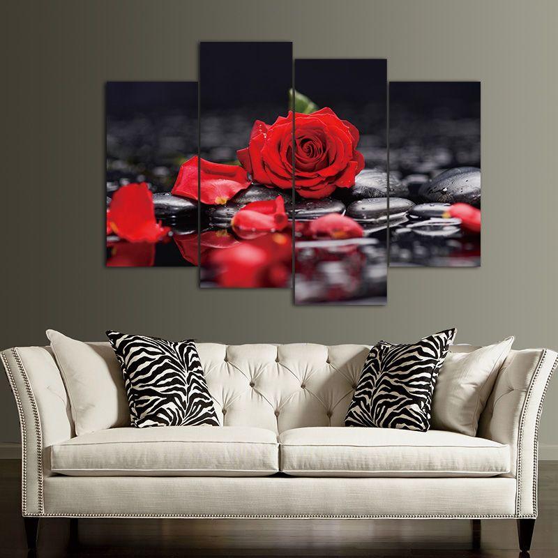 Toile peinture mur art décor Imprimer Fleur Blanc Lotus En Noir Mur Art Photo avec Moderne Peintures Murales Modulaire image