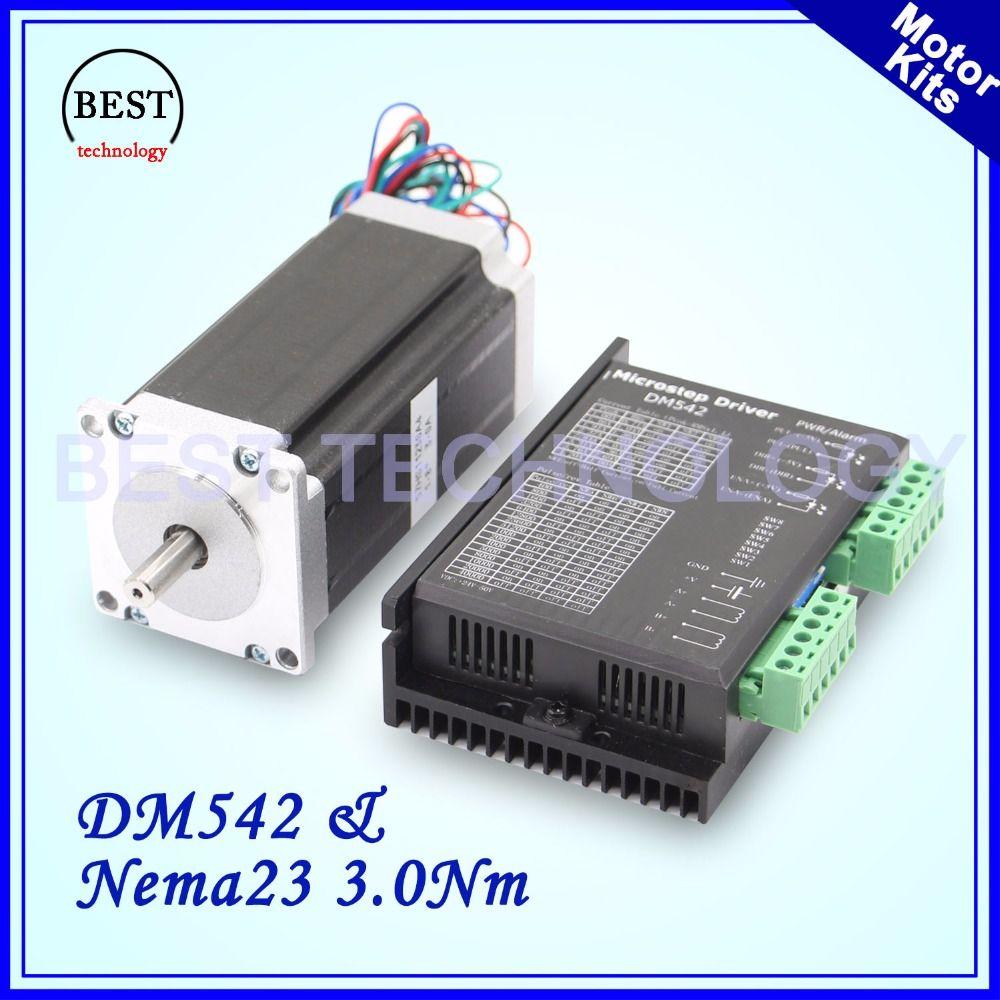 Nema 23 stepper motor kit 57x112mm motor 3 A 3.0 Nm 420Oz-in & DM542 M542 1.0-4.2A DC 24-50v Microstep 256 for engraving CNC