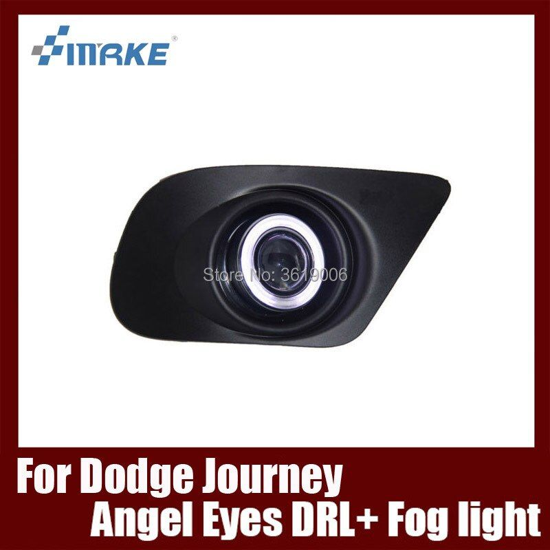 Fog Lamp Assembly LED Day Light COB Angel Eyes Foglight Daytime Running Light Lens Bumper Complete Set For Dodge Journey JCUV