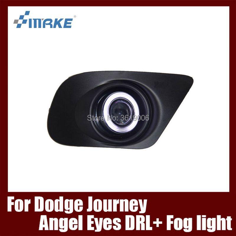Nebelscheinwerfer Montage FÜHRTE Tageslicht COB Angel Eyes Foglight Tagfahrlicht Objektiv Stoßstange Komplett-set Für Dodge Journey JCUV