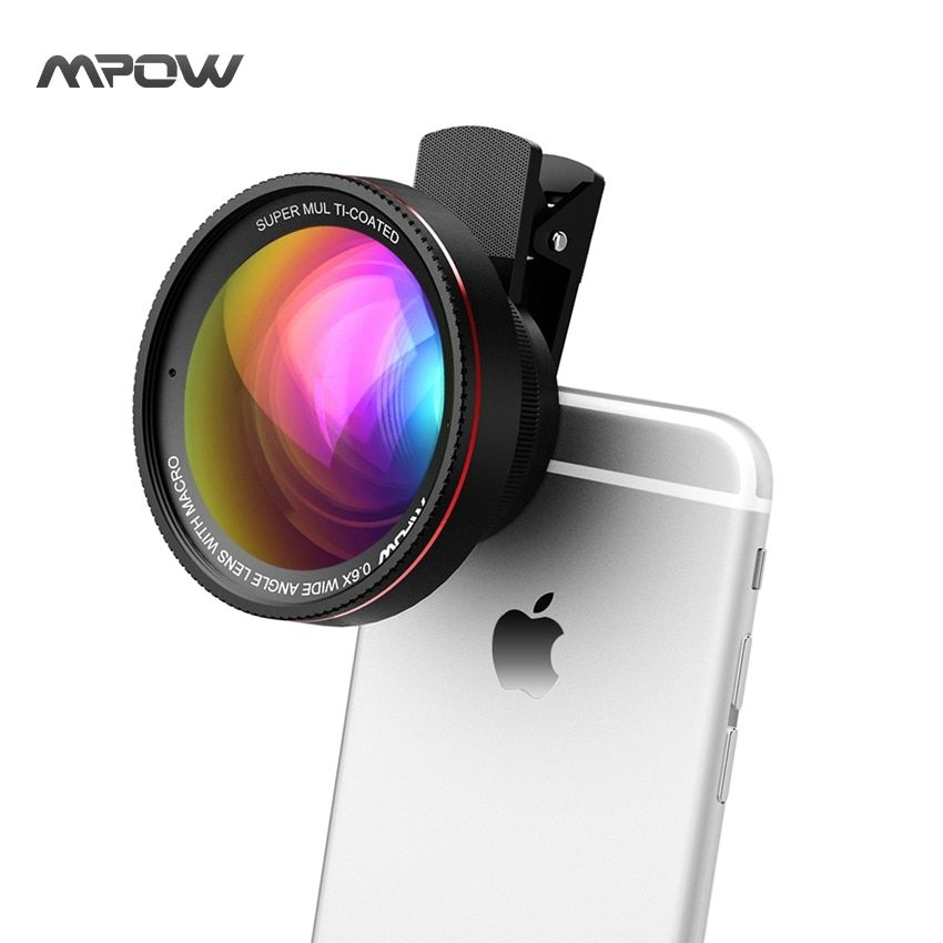 Mpow MFE6 2 in 1 Phone Lens Kit Clip-On 0.6X Wide Angle High Definition Lens w/ 37mm Thread + 10X Macro Lens for Cellphones