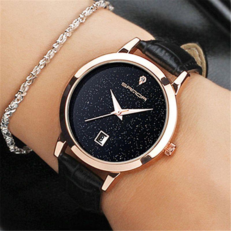 SANDA marca señoras reloj de cuarzo reloj de cuero impermeable reloj moda mujer romántica reloj Relogio Faminino
