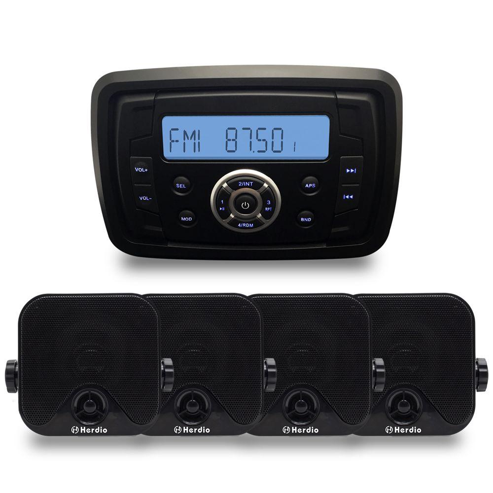 Marine Kompakte Bluetooth Stereo Motorrad Audio Radio MP3 Player Sound System Boot RV Auto UTV ATV SPA Zimmer + 4