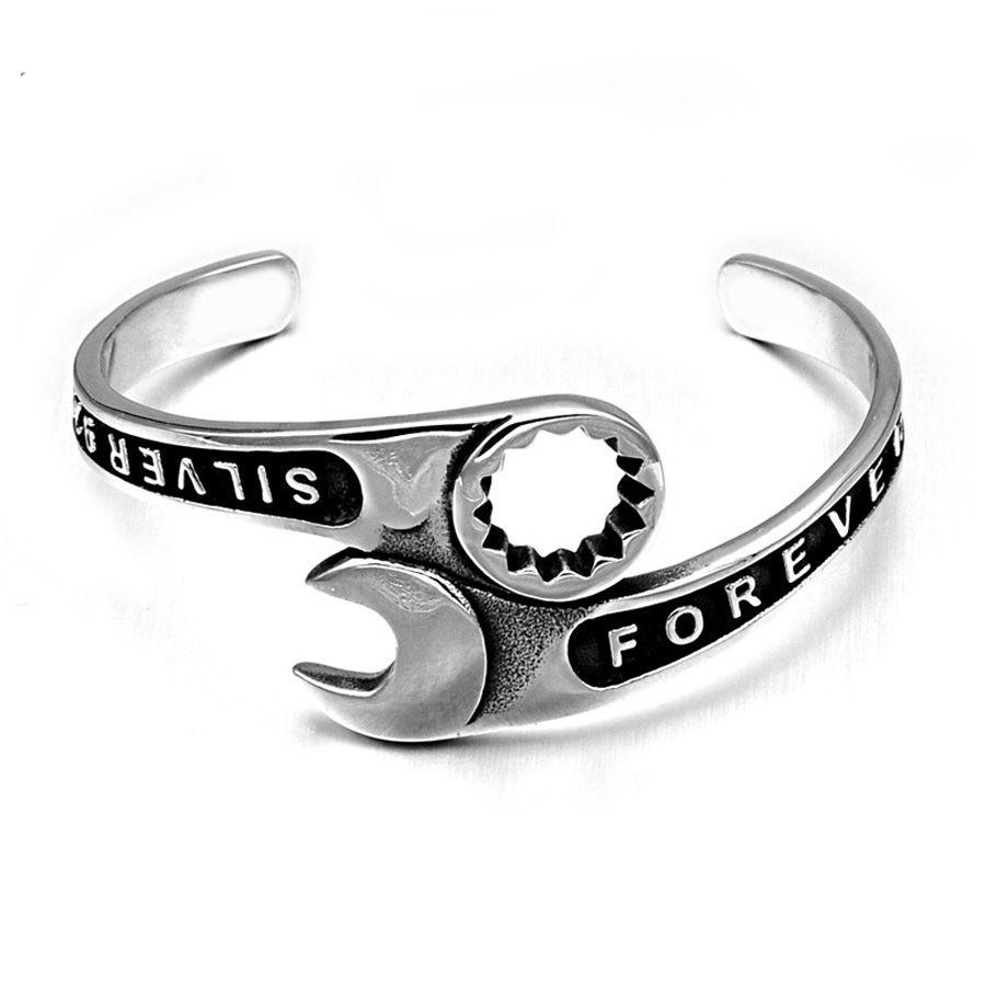 Vintage Punk Rock Silver Open Wrench Bracelet Titanium Stainless Steel Cuff Bangles Biker Bracelets for Men Tools Jewelry A0262