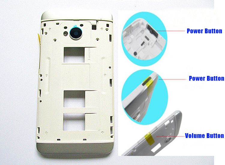 Black/Silver 100% New housing Middle Frame Cover Case+Volume&Power Buttons For HTC One M7 802w 802t 802d (Dual Sim)