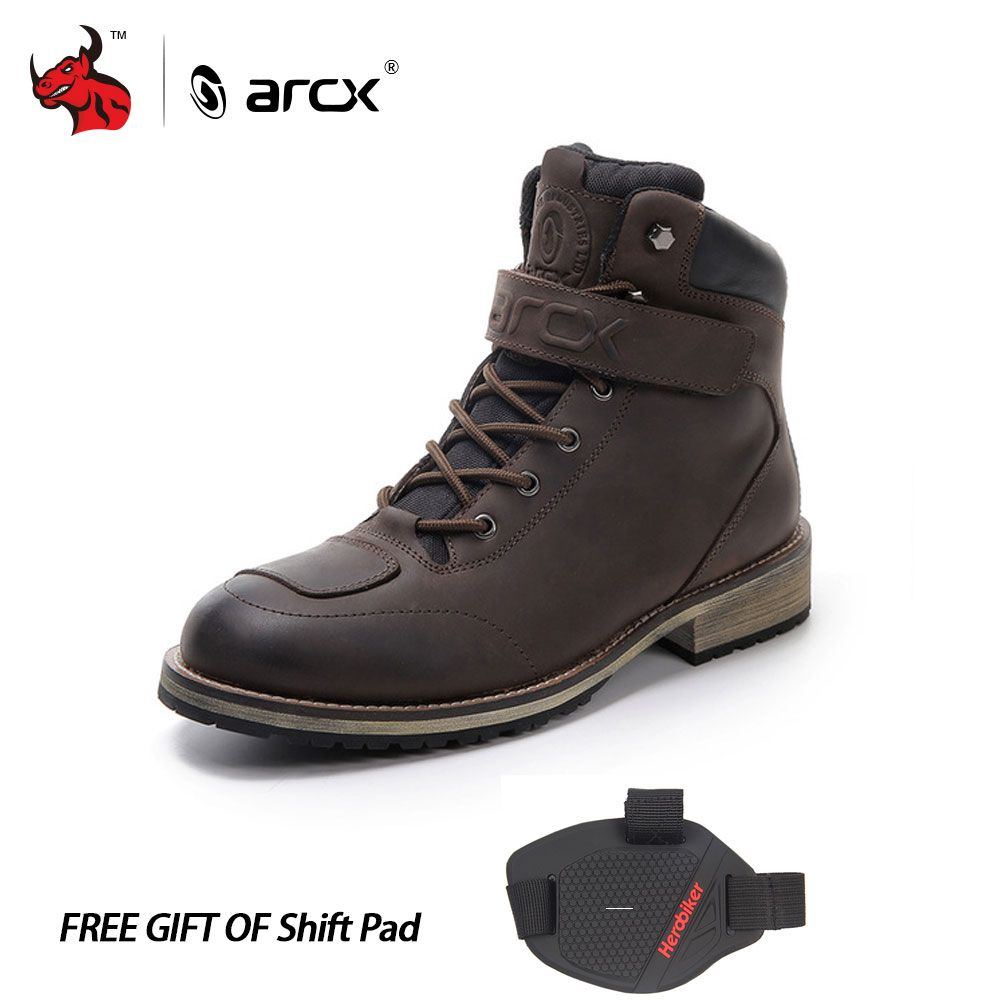 ARCX Leather Motorcycle Boots Men's Waterproof motorcycle Outdoor Travel Boots Moto Vintage Ankle Boots
