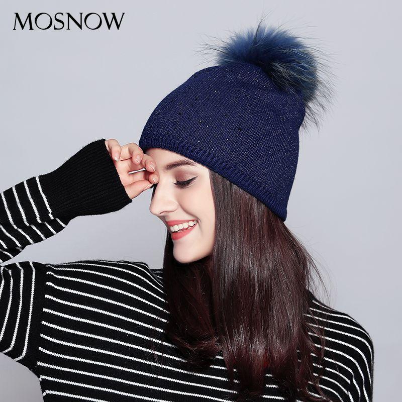 MOSNOW Wool Hats For Women Casual 2017 Raccoon Fur Pompom Rhinestone Autumn Winter Knitted Women's Hat Skullies Beanies  #MZ711B