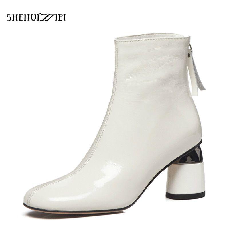 SHEHUIMEI Frauen Stiefeletten Punk Herbst Winter Kuh Leder Zipper Weiß Schwarz frauen Stiefel Mode Schuhe Frau Plus Größe 34-42