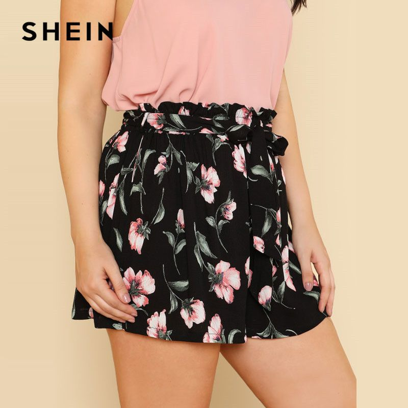 SHEIN Self Belted Flower Print Shorts <font><b>Wide</b></font> Leg Multicolor Elastic Waist Floral Mid Waist Bow Tie Women Summer Shorts