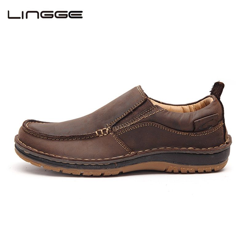 LINGGE Leather Casual Shoes Fashion Men Shoes Loafers Comfortable Men Leather Shoes Slip On Moccasins #7287