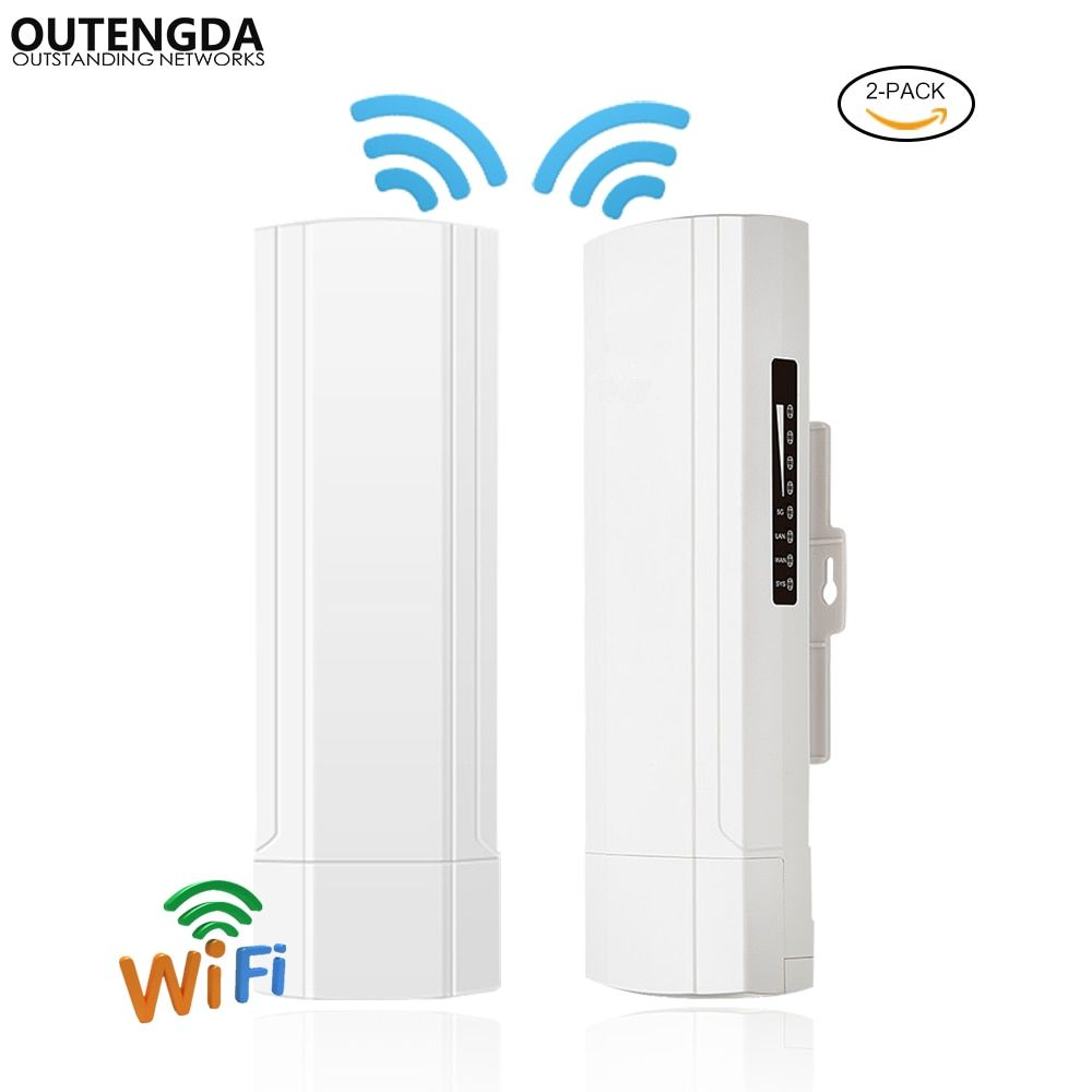 (2PCS-PACK) Wireless Outdoor CPE AP 3km Long Range 2.4Ghz 300Mbs 14dBi ANT WiFi Bridge Wireless AP Router 24V POE Adapter Inc