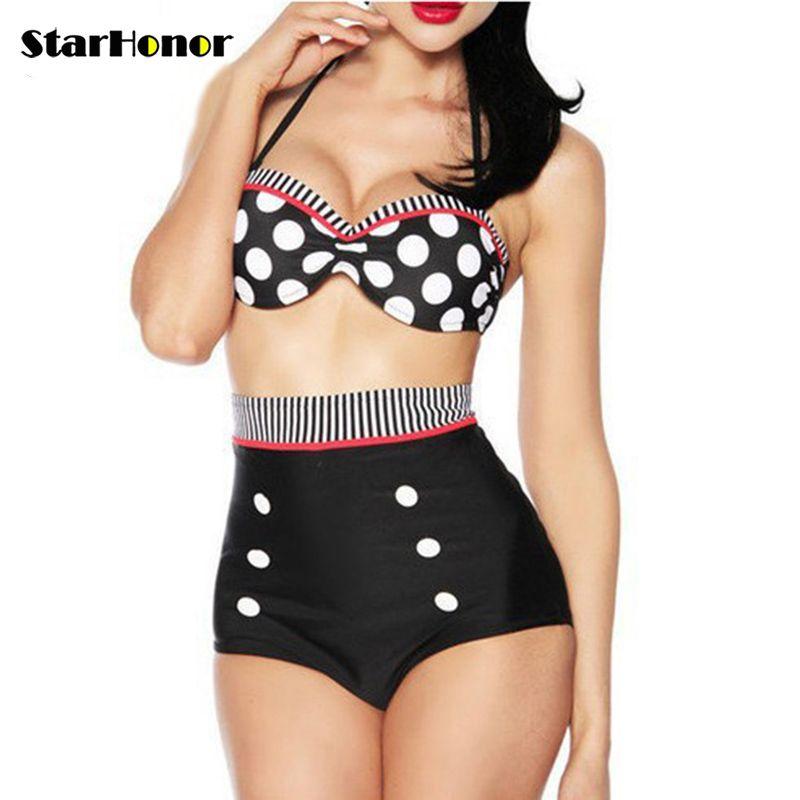 StarHonor Sexy femme à bretelles plage maillot de bain rétro à pois licou Biquini deux pièces Bikinis ensembles Push Up maillot de bain