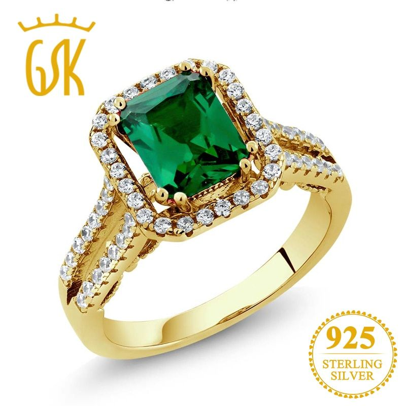 GemStoneKing 18K Yellow Gold Plated Silver Ring 2.78 Ct  Russian Nano Emerald Vintage Engagement Rings For Women Fine Jewelry
