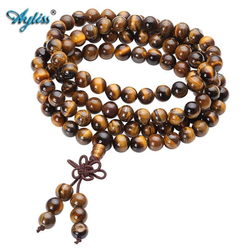 Ayliss 6/8mm 108 perles naturel œil de tigre bouddha prière perle Bracelets bouddhiste chapelet unisexe hommes Bracelets & Bracelets bijoux