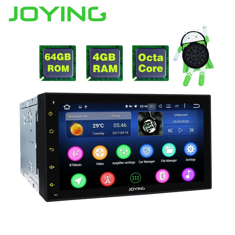 JOYING 6.95'' 2Din Car Radio GPS Android 8.0 4GB+64GB Octa Core Universal LCD Touch screen Stereo BT carplay Video Output Player