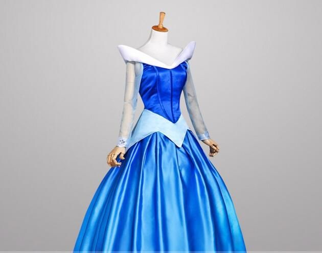 Free shipping halloween party blue S-XXL adult princess aurora sleeping beauty cosplay Costume dress beauty role-palying dress