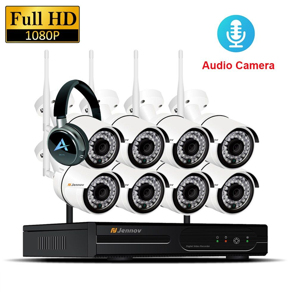8CH 1080P 2MP IP Camera Audio Record Wireless Security CCTV System Home NVR wifi Video Surveillance Kits Set wi-fi Led Light Cam
