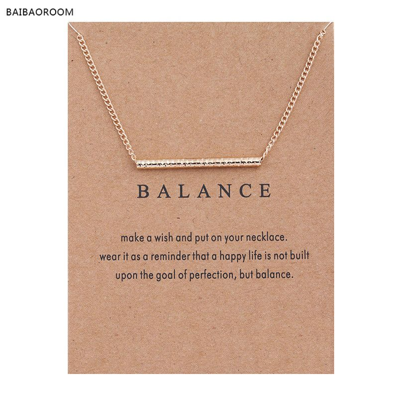 New Gold-color Balance Wood Straight Bar Alloy Clavicle snake Pendant Short Necklace