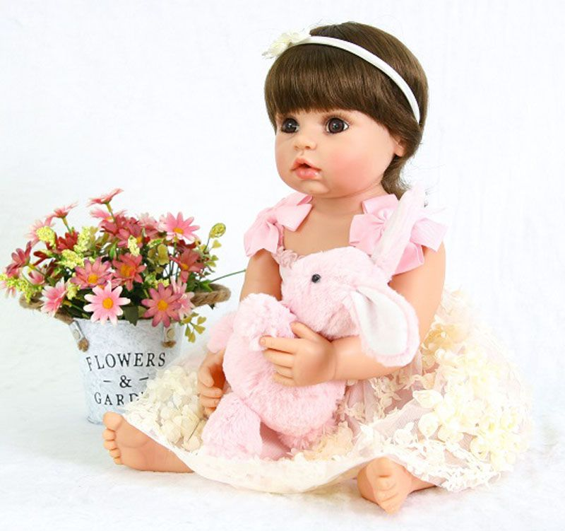 Fashion 22 Inch bebe 55 cm Full Body Silicone Reborn Baby Girl Doll Live Princess Doll Baby Toy For Kid Christmas Birthday Gift
