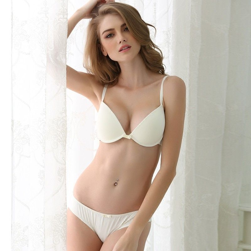 CINOON 2018 HOT Sexy Underwear women's Solid color bralette Smooth bra set push up bra and <font><b>Comfortable</b></font> Panty set lingerie set