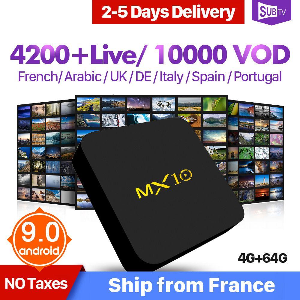 IP TV italie arabe espagne France IPTV 1 an MX10 Android 9.0 4 + 64G IPTV abonnement QHDTV IUDTV SUBTV suède français IP TV Box