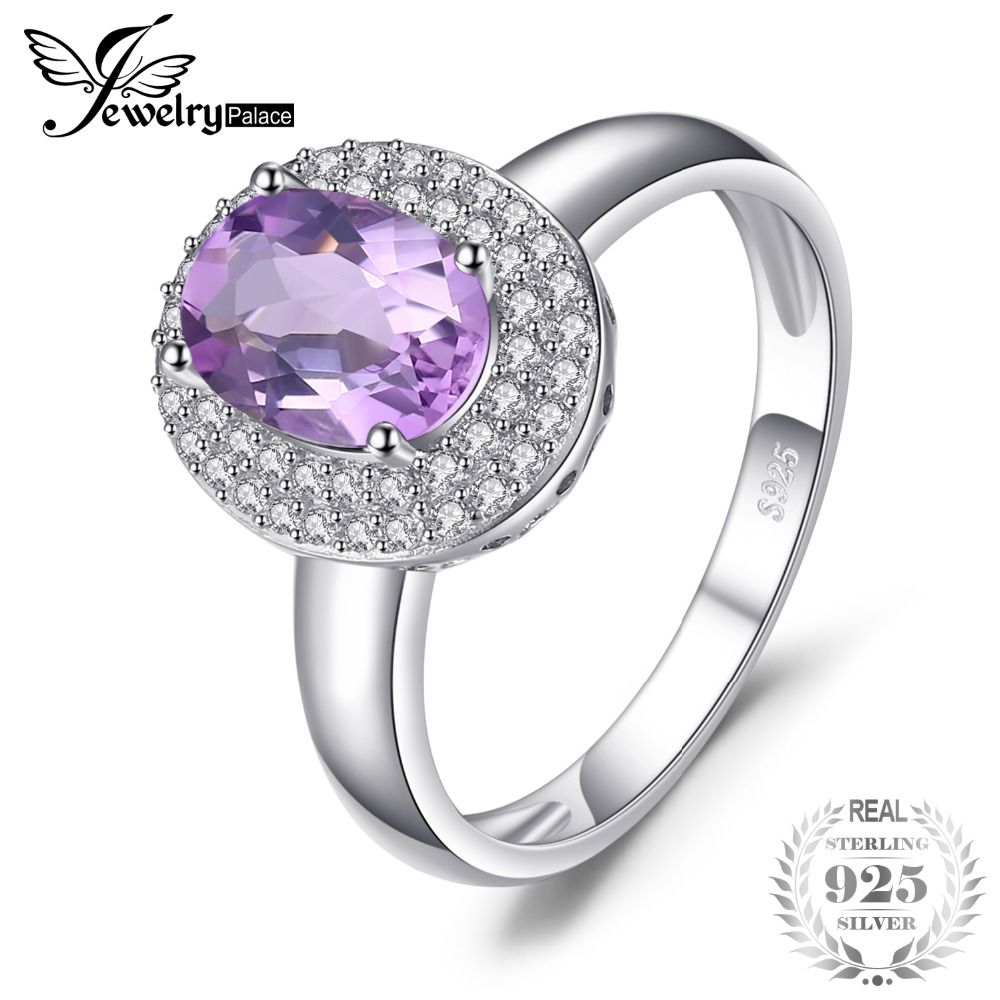 JewelryPalace Classic 1.8ct Natural Amethyst Halo Anniversary Engagement Ring 925 Sterling Silver Women Fashion Accessories