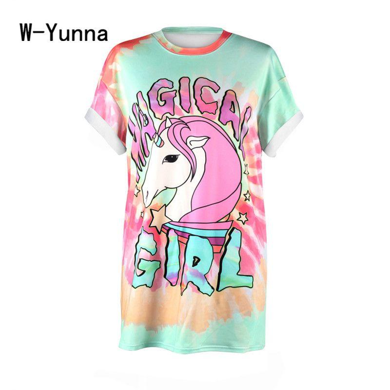 W-Yunna Women 2017 3D Print horse <font><b>Alien</b></font> Tshirt Loose Casual Oversized Short Sleeve T Shirt O-neck Harajuku Summer Tops