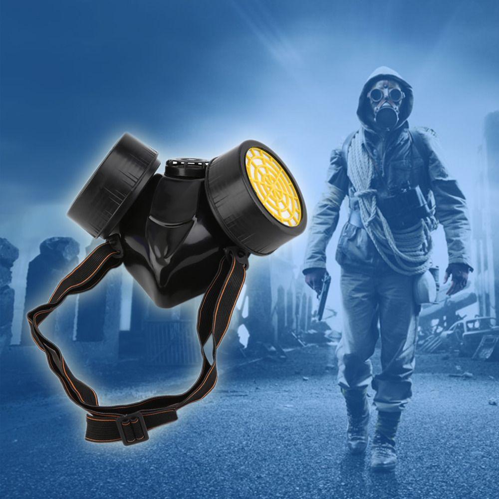 Schwarz Gas Maske Notfall Überleben Sicherheit Atemwege Gas Maske Anti Staub Farbe Atemschutz Maske mit 2 Dual Schutz Filter
