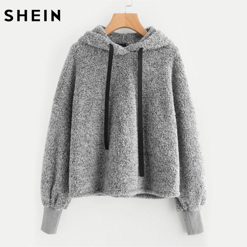 SHEIN Faux Fur Fluffy Hoodie Autumn Winter Casual Women Hoodies Sweatshirts Grey Long Sleeve Womens Hoodies Pullover