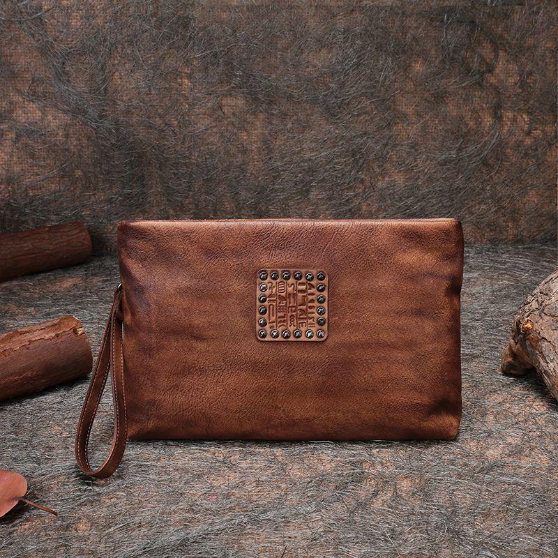 Retro Wristlets Bag 2018 Latest Women Clutch Bags Handmade Genuine Leather Purse with Cell Phone Pocket Unisex Envelope Bag