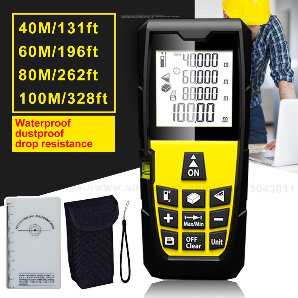 Laser Rangefinders Area/Volume/<font><b>Distance</b></font>/Pythagoras Portable Laser <font><b>Distance</b></font> Measurer 40m(131ft)60m(196ft)80m(262ft)100m(328ft)