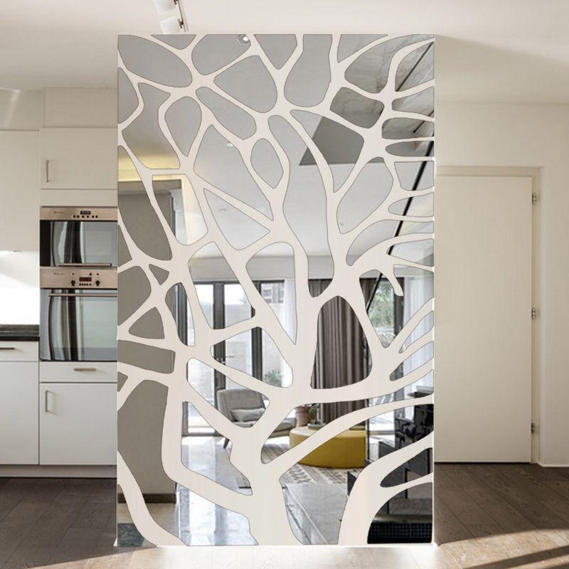 Amovible 3d bricolage miroir stickers muraux arbre chambre salon décoration TV fond mur décor acrylique autocollants miroir pâte