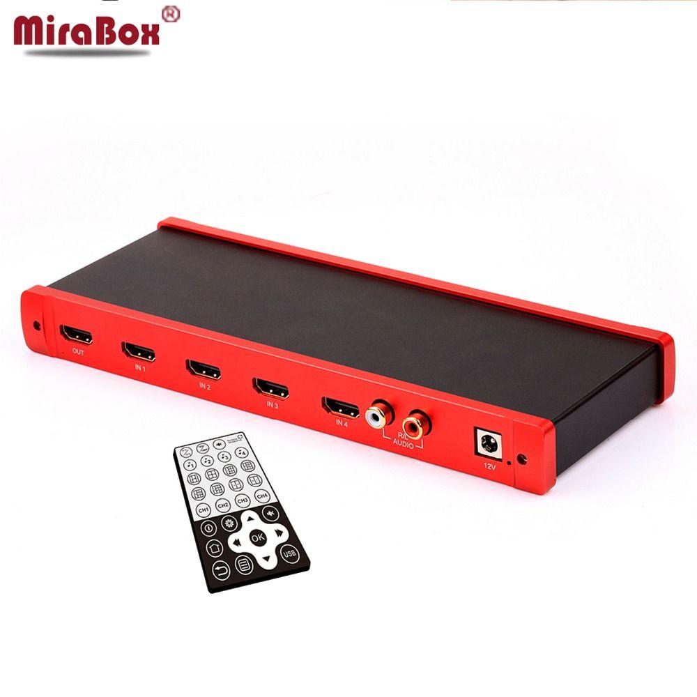 MiraBox 4X1 HDMI Multi-viewer HDMI Quad-Screen Echtzeit Multiviewer mit HDMI nahtlose Switcher 1080 p HD IR HDMI Schalter