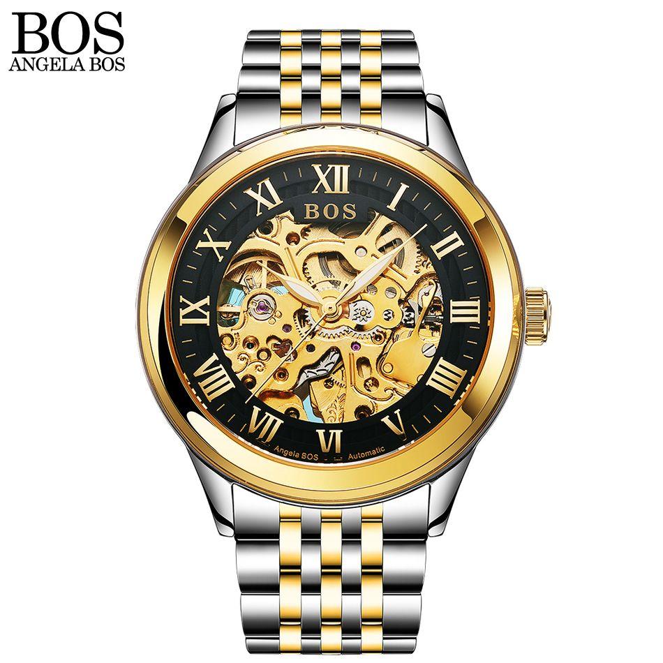 ANGELA BOS Black Gold Stainless Steel Skeleton Luxury Watch Men Automatic Mechanic Sapphire Luminous Skeleton Brand Watches Man