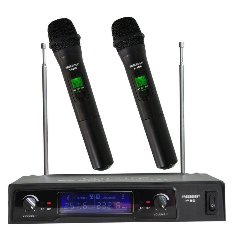 Freeboss KV-8500 VHF 2 De Poche Sans Fil Microphone Dynamique Capsule Famille Partie Équilibrée + Sortie Asymétrique Sans Fil Microphone