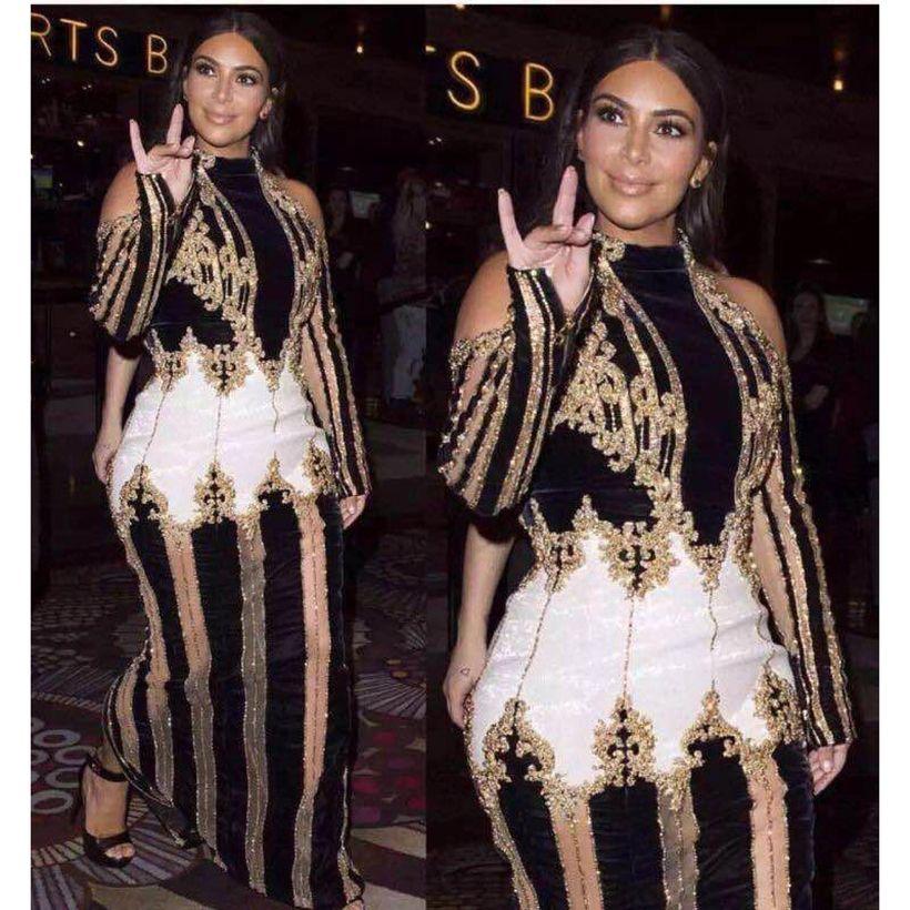 Haute qualité Paris mode 2019 Designer robe de piste Kim Kardashian femmes luxueux travail à la main perles Maxi longue robe
