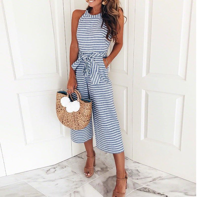 <font><b>Women</b></font> Summer O-neck Bowknot Pants Playsuit Sashes Pockets Sleeveless Rompers Overalls Sexy Office Lady Striped Jumpsuits