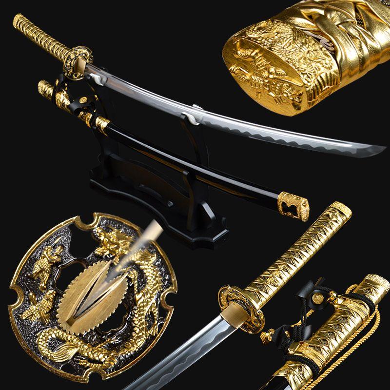 Goldene Farbe Japanischen Tachi Schwert Handmade Kampf Bereit Full Tang Samurai Katana Kohlenstoffstahl Sharp Ausbildung Espadas Schwert