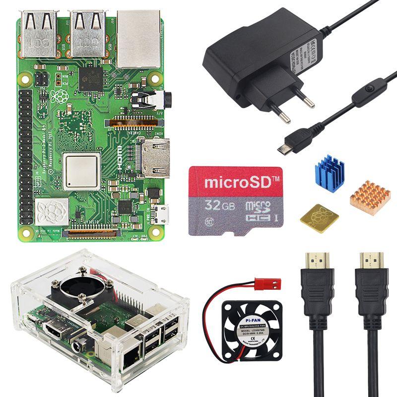 Raspberry Pi 3 modèle B + Plus Kit 16 32 GB carte SD + ventilateur + 2.5A interrupteur adaptateur secteur + dissipateur de chaleur + câble HDMI pour Raspberry Pi 3 B +