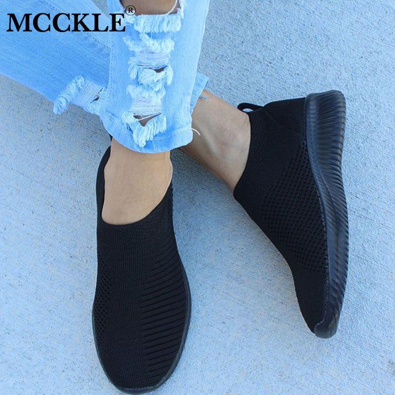 MCCKLE automne chaussures femmes Sneaker Air Mesh doux femme chaussette tricoté vulcanisé chaussures décontracté sans lacet dames plat femmes chaussures