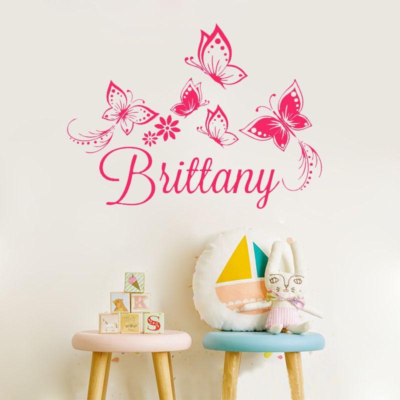 ZN A1 Personnalisé personnalisé Nom Papillons wall sticker pour enfants chambre décor Amovible vinyle Art stickers muraux décoration de la maison
