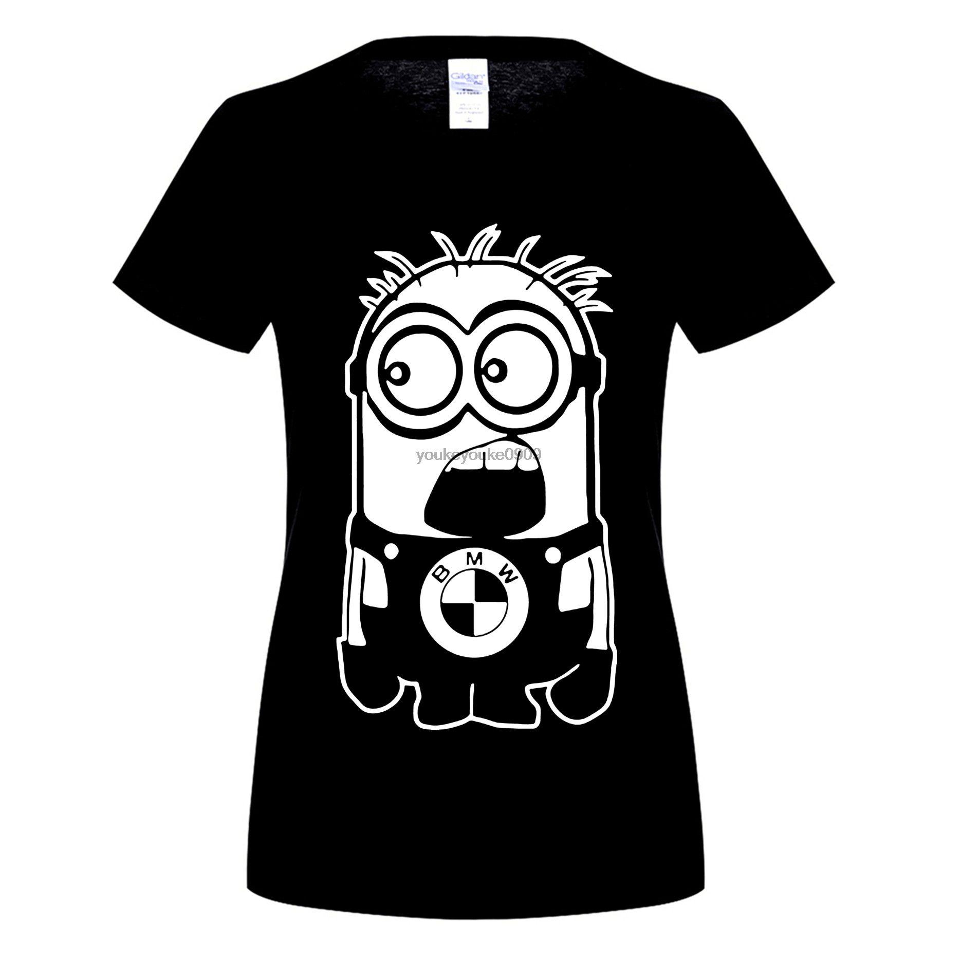 Возьмите Мода Миньоны BMW череп аниме печатных Женская футболка Топы с короткими рукавами Camisetas Повседневная футболка женская одежда футбол...