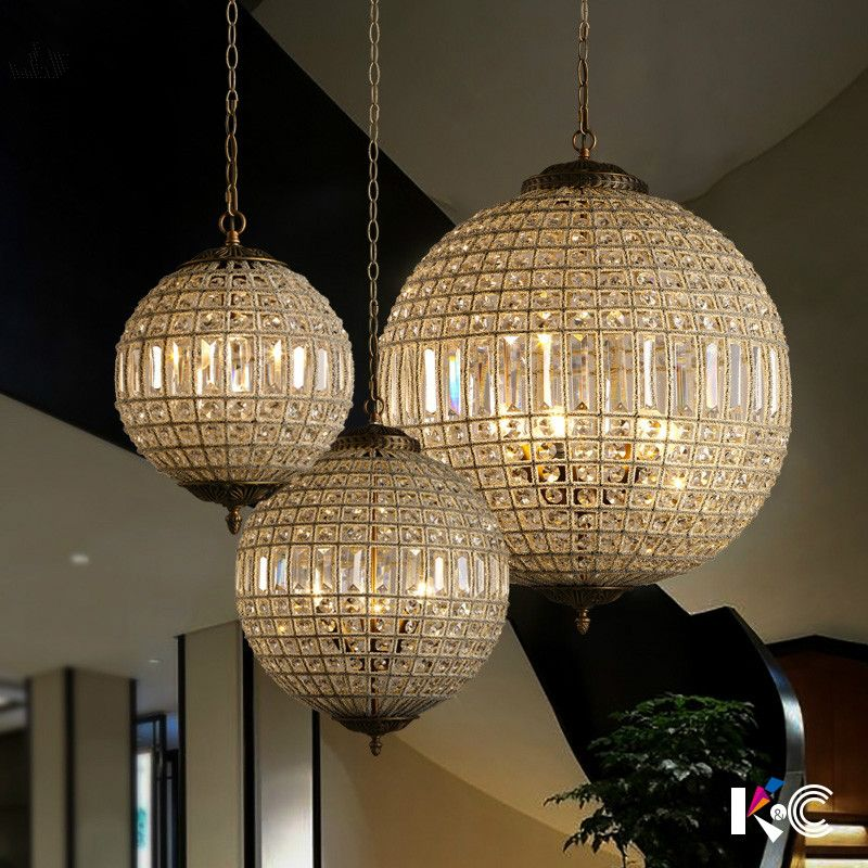 American Luxury Lustre K9 Crystal Round Circle Metal Led Pendant Lights French Crystal Luminaria Led Hanging Lamp for Corridor