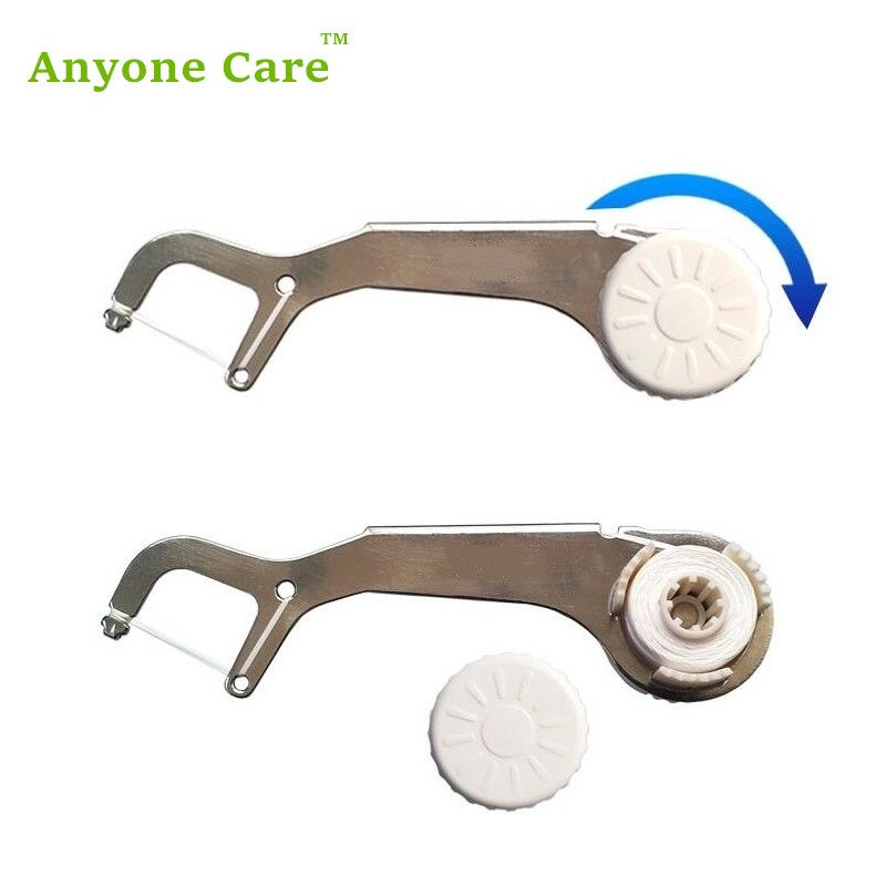 ECO-Friendly Stainless Steel Dental Floss Toothpick Reusable semi automatic Flat PTFE Wire Dental Floss Stick Oral Care